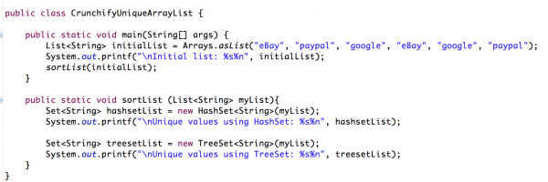 Java: How to find Unique Values in ArrayList (using TreeSet, HashSet)