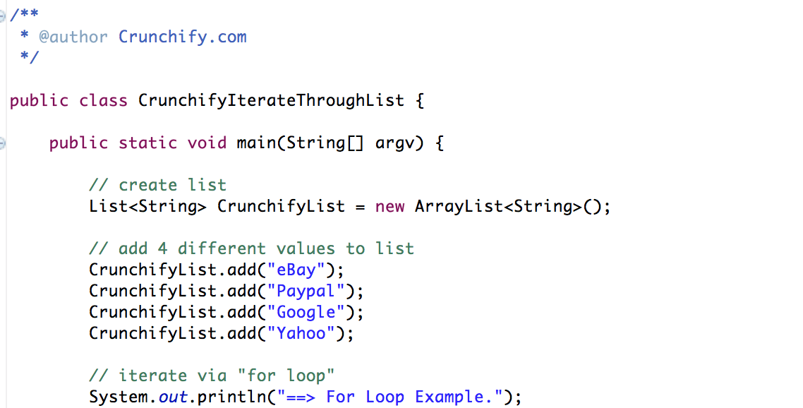 CrunchifyIterateThroughList Java - Crunchify Tutorial