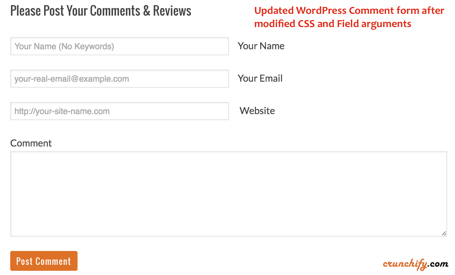Updated WordPress Comment form after modified CSS and Field arguments