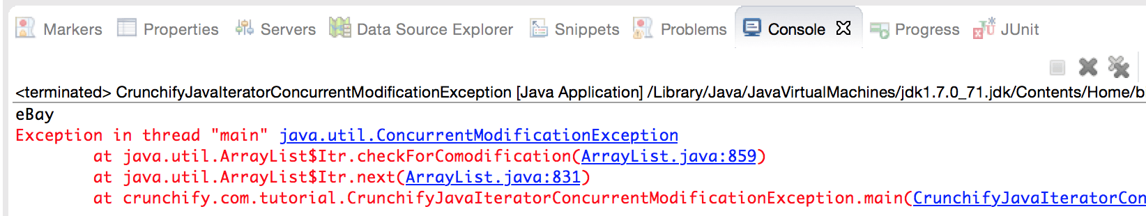 java.util.ConcurrentModificationException Example