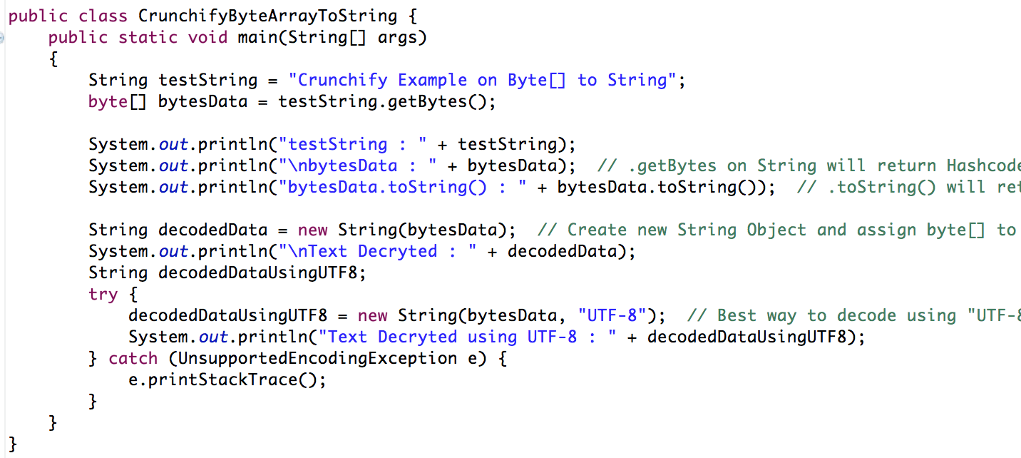 Java: How to convert Byte[] Array To String • Crunchify