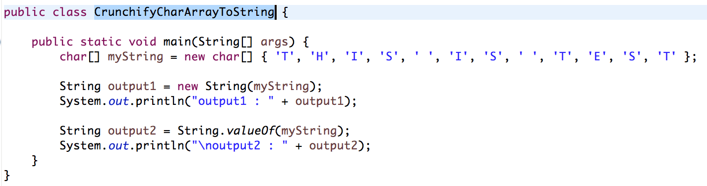 Java: Two ways to Convert Char Array to String • Crunchify