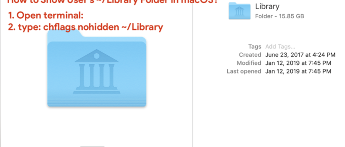 How to show user's hidden ~:Library folder in macOS