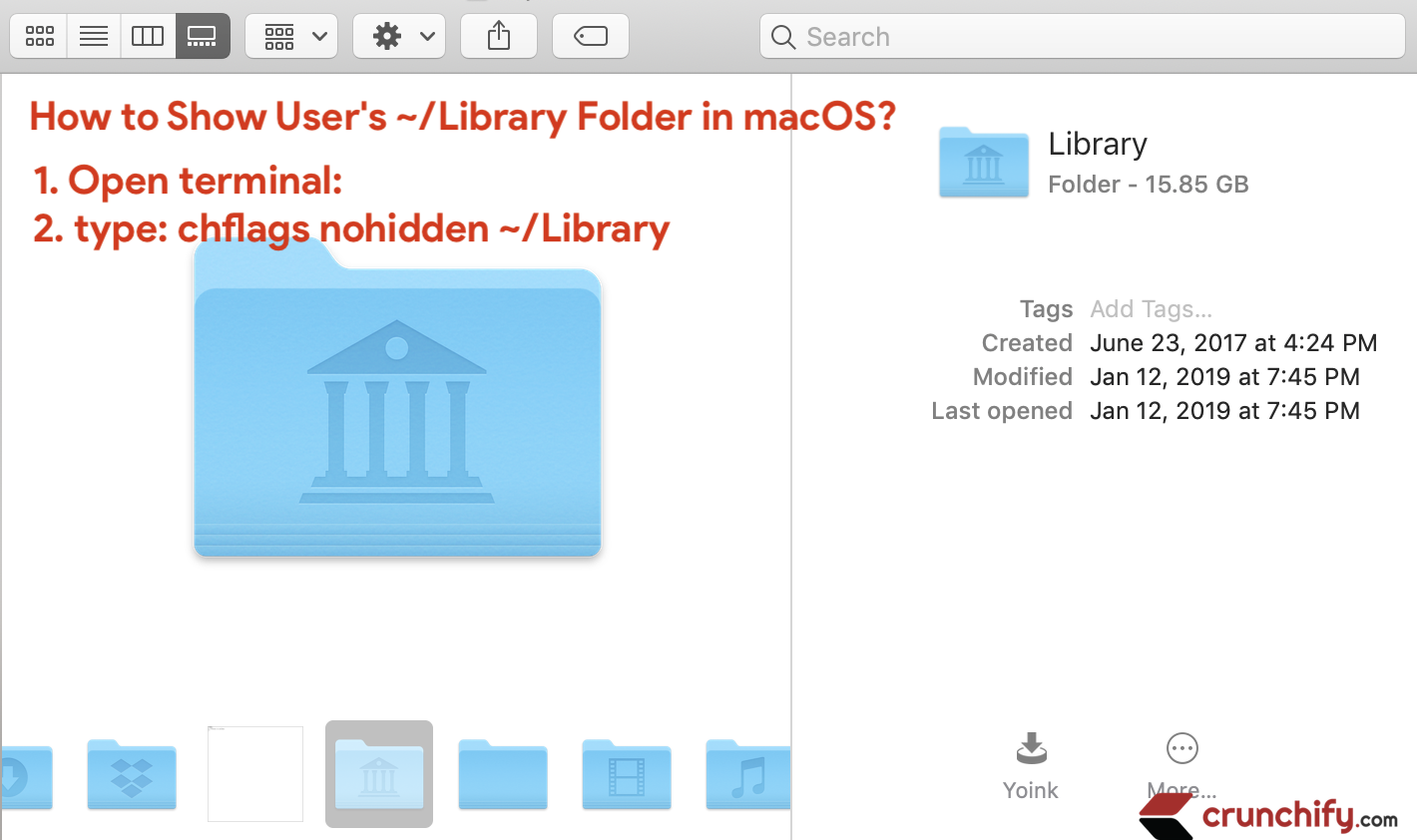 How to show user's hidden ~/Library folder in macOS and