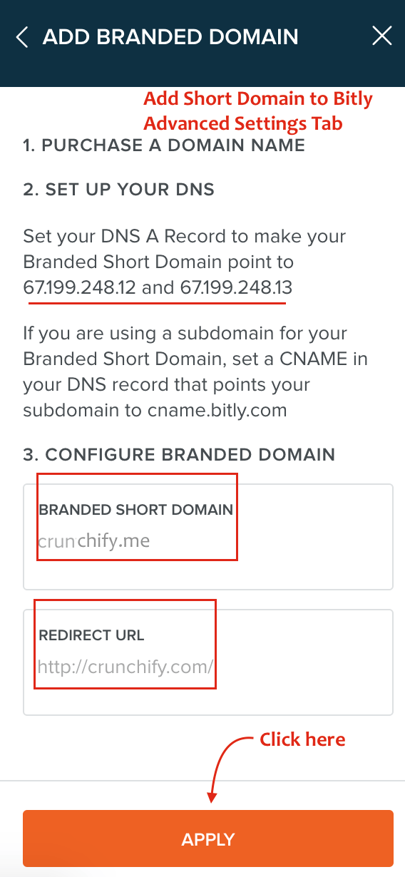 Add Short Domain to Bitly Advanced Settings Tab - Crunchify Tips