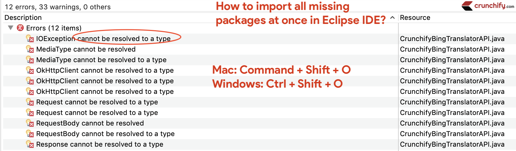 Import all missing packages at once in Eclipse IDE - Crunchify Tips