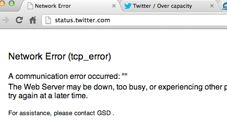 Twitter Status page down