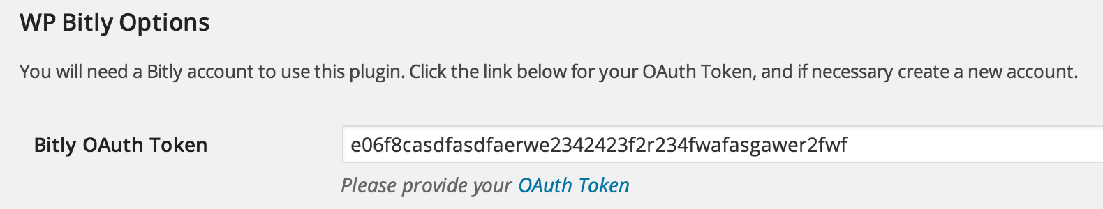 WP Bitly OAuth Token