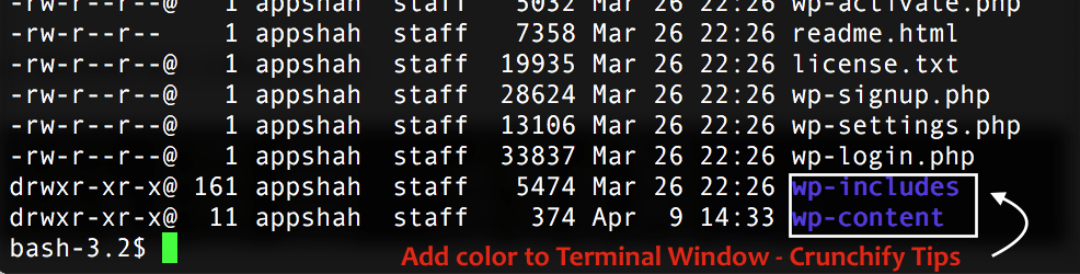 Add color to Terminal Window - Crunchify Tips