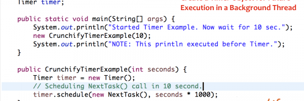 Java: Create a Timer Object for Future Execution in a Background Thread – Timer.schedule() Example