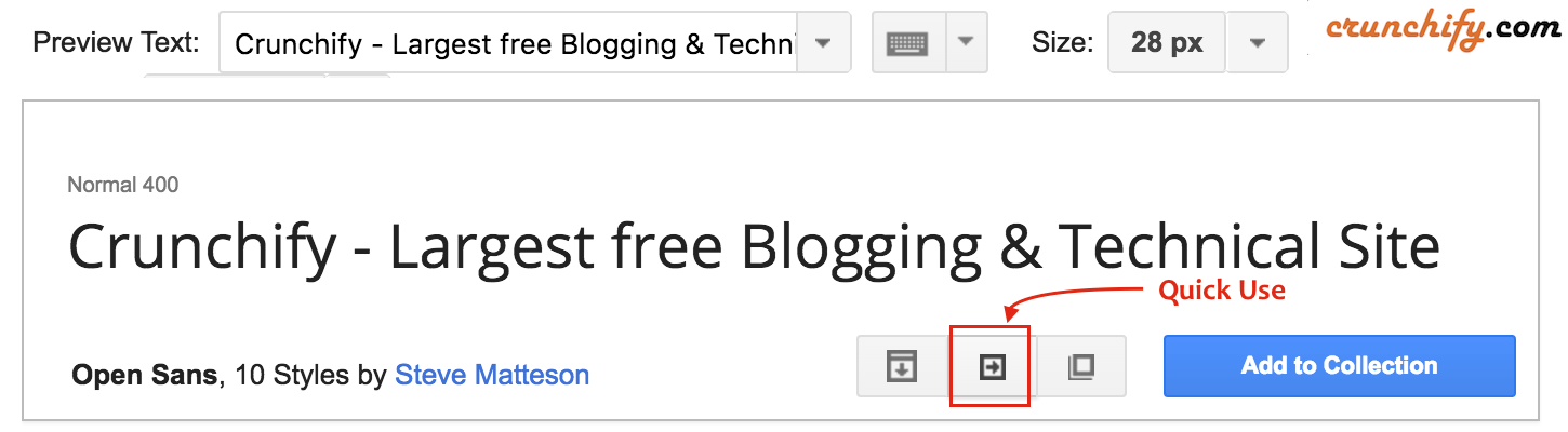 Google Fonts - Quick use button - Tips by Crunchify