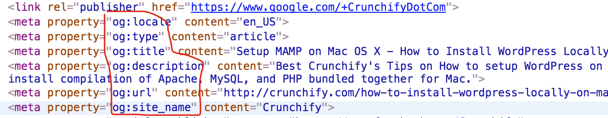 OpenGraph Tags in Crunchify Header