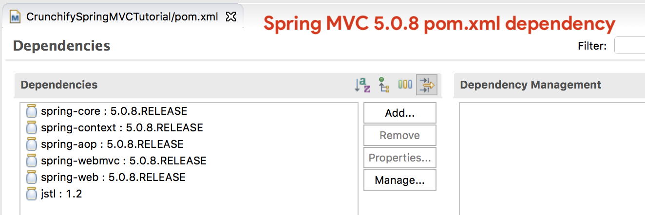 Spring MVC 5.0.8 Dependency in Eclipse pom.xml