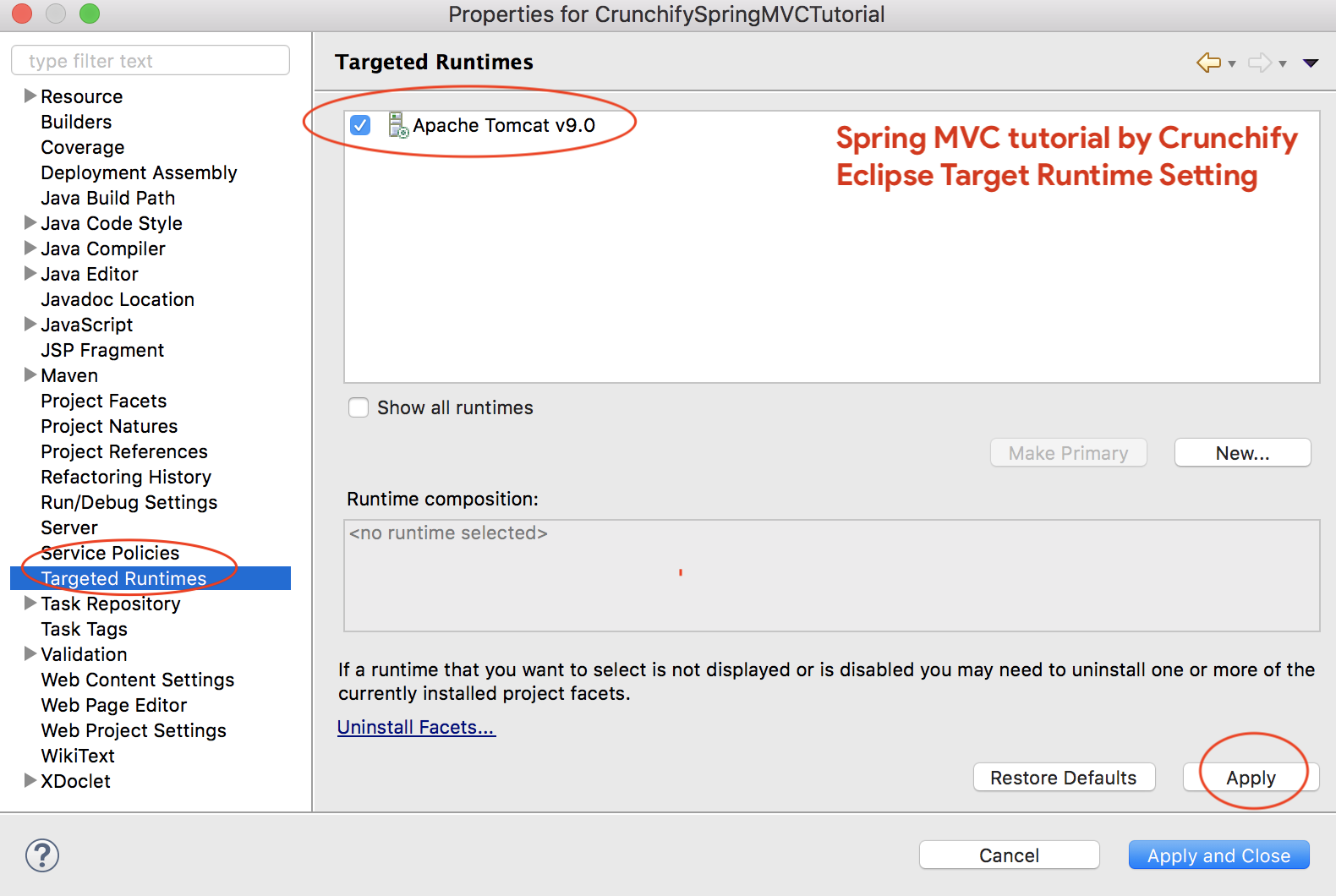 Spring MVC tutorial - Eclipse Target Runtime Setting