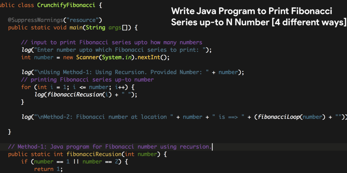 Write Java Program to Print Fibonacci Series up-to N Numbers