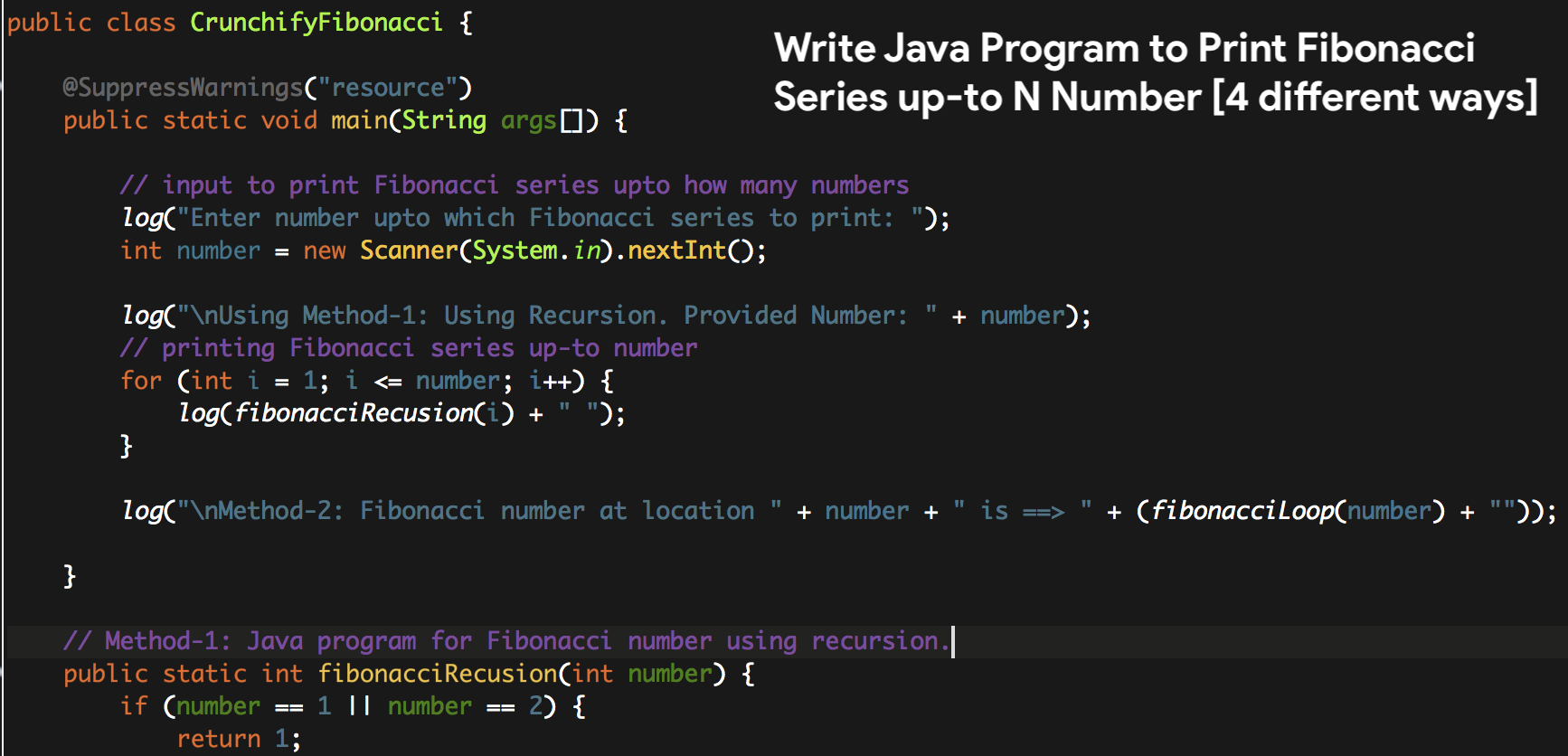 Write Java Program to Print Fibonacci Series up-to N Number [4