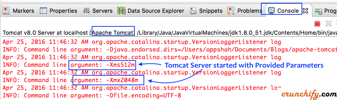 Apache Tomcat Server Started with Xmx and Xms parameter in Eclipse
