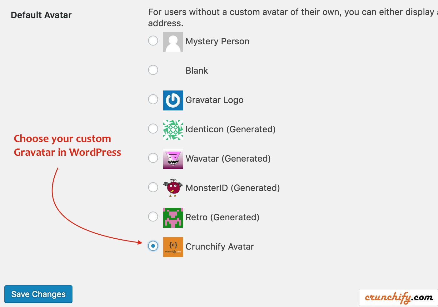 Choose your custom Gravatar in WordPress - Crunchify Tips