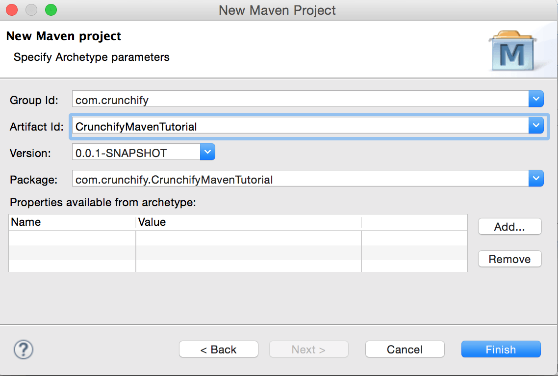 Create Crunchify Maven Project in Eclipse