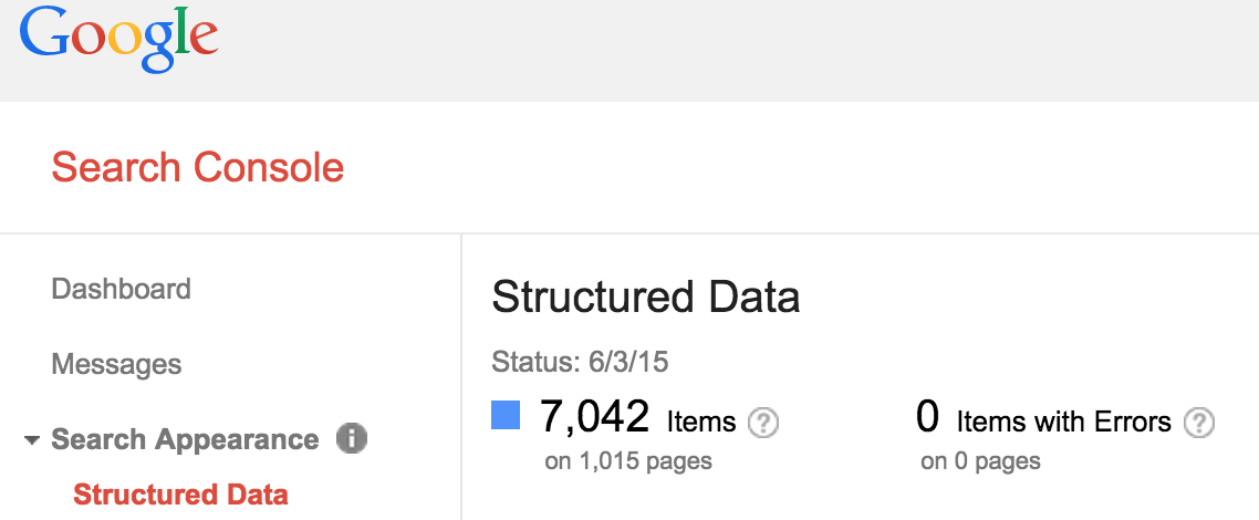 Google Search Console Search Appearance Structured Data