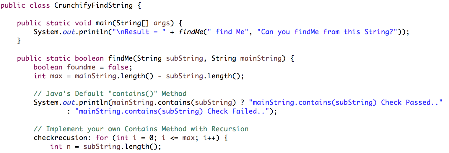 Java: How to Check if a String Contains a Substring? Implement Your