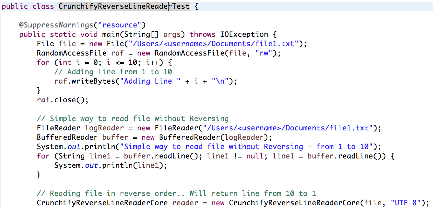 In java how to read a file line by line in reverse order for Read in reverse