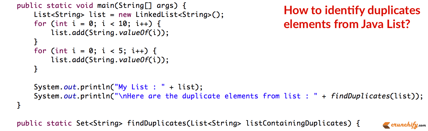 Do you want to identify duplicates elements from Java List?