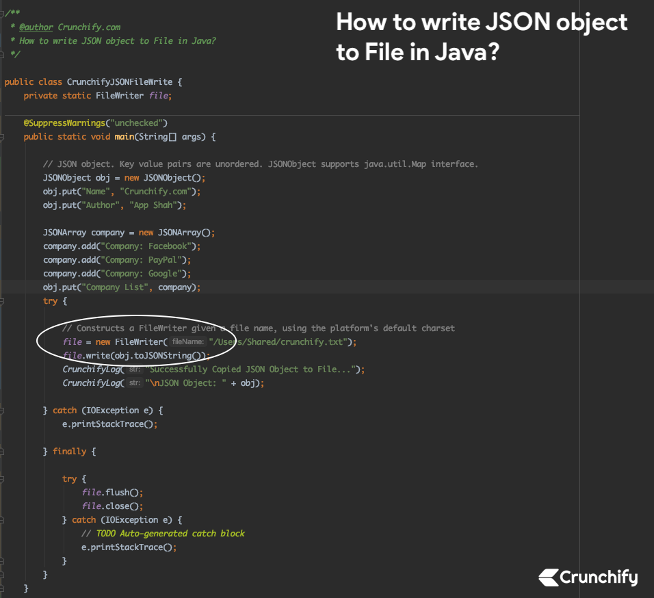 How to write JSON object to File in Java?
