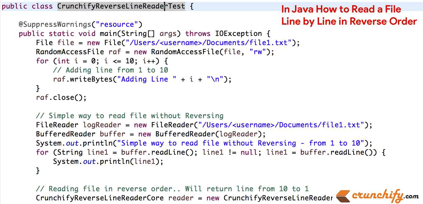 In Java How to Read a File Line by Line in Reverse Order