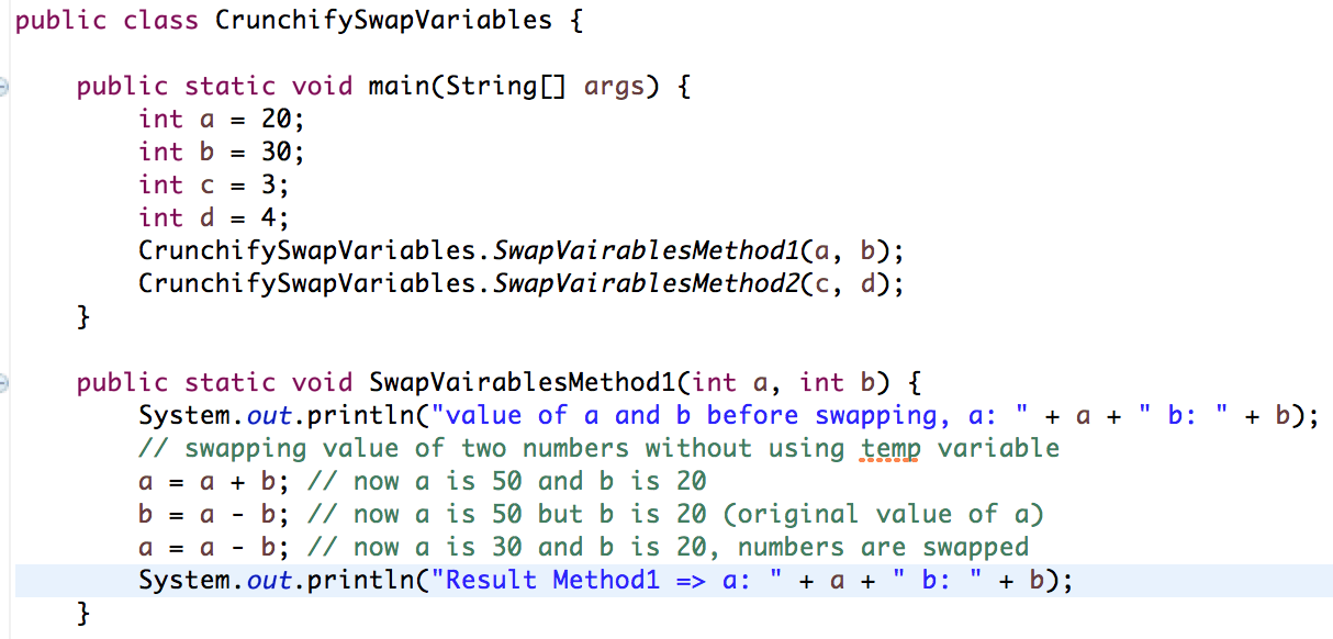 How to Swap Two Members Without using Temp Variable