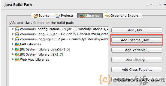 Add External Jar - Crunchify Apache Tomcat Tutorial