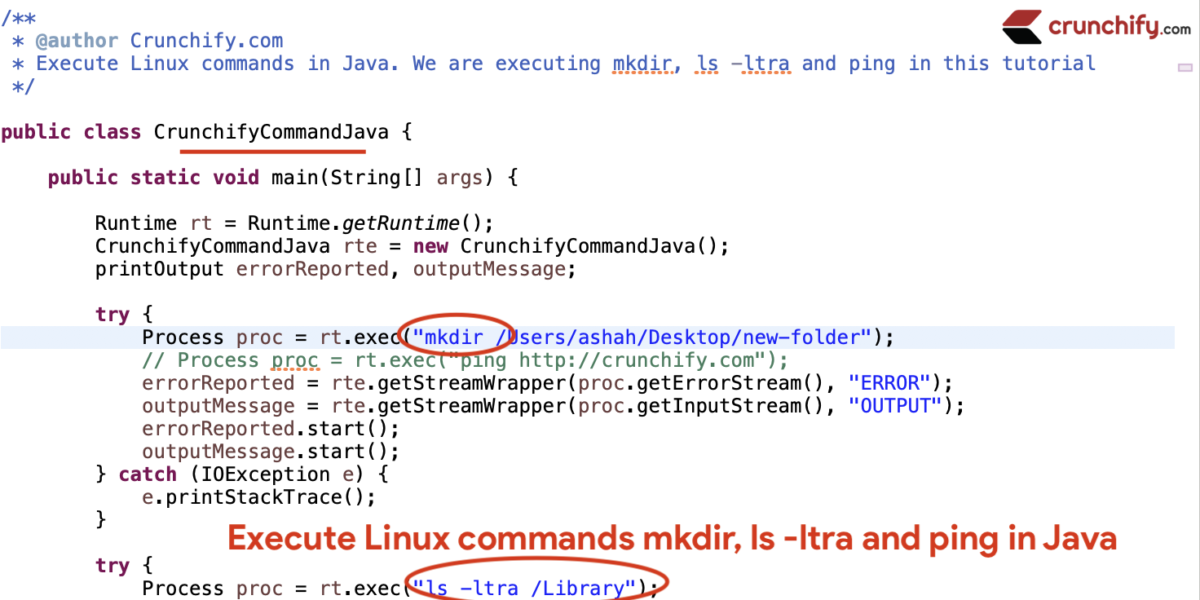 Execute Linux commands mkdir, ls -ltra and ping in Java