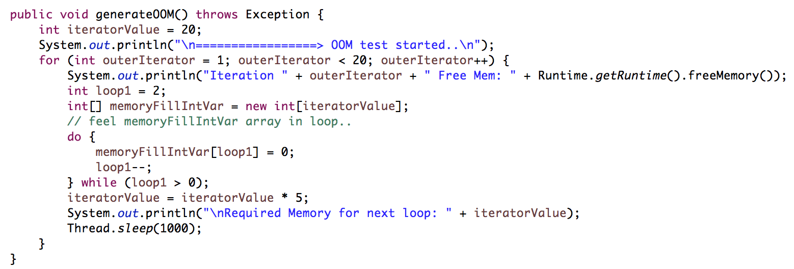 How to Generate Out Of Memory (OOM) in Java