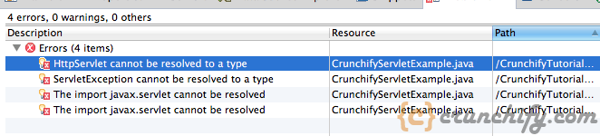 HttpServlet cannot be resolved to a type - Crunchify