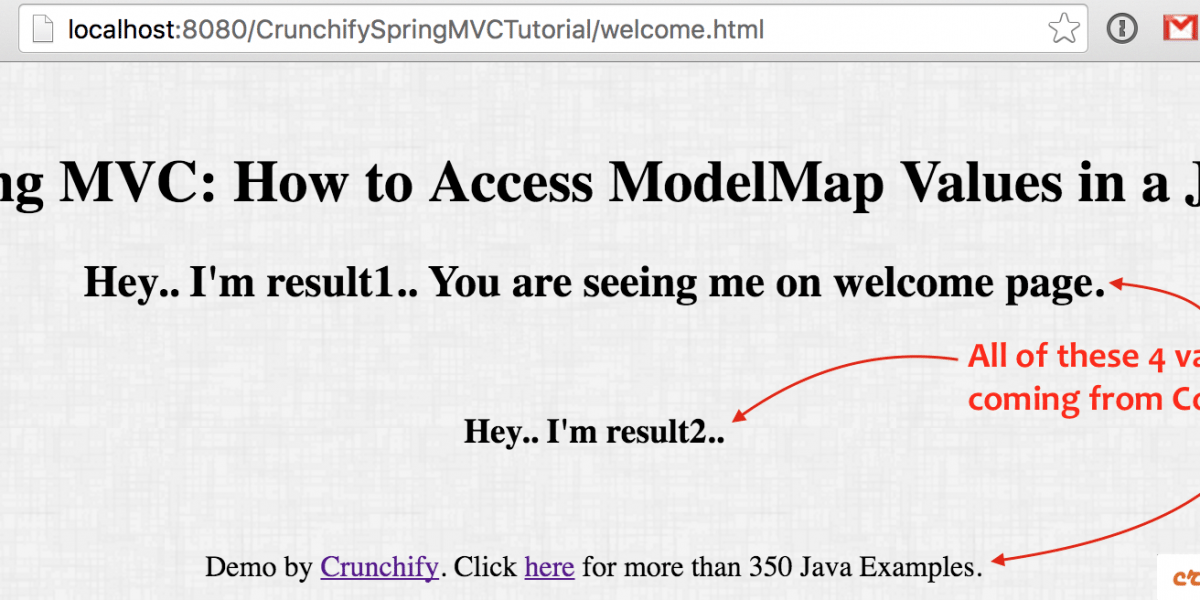 Spring MVC: How to Access ModelMap Values in a JSP? Get values into JSP from Controller Class at Runtime