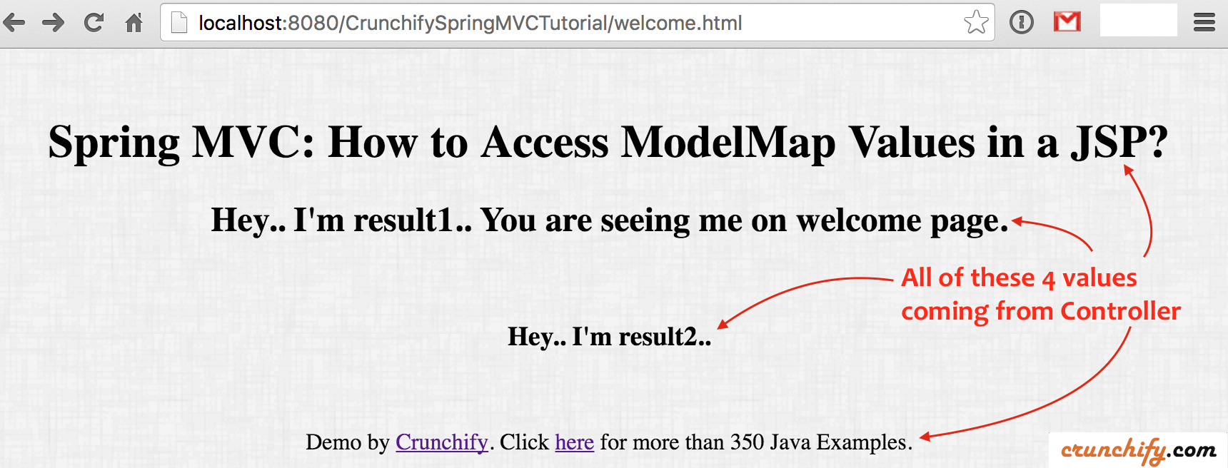 Spring MVC: How to Access ModelMap Values in a JSP? Get