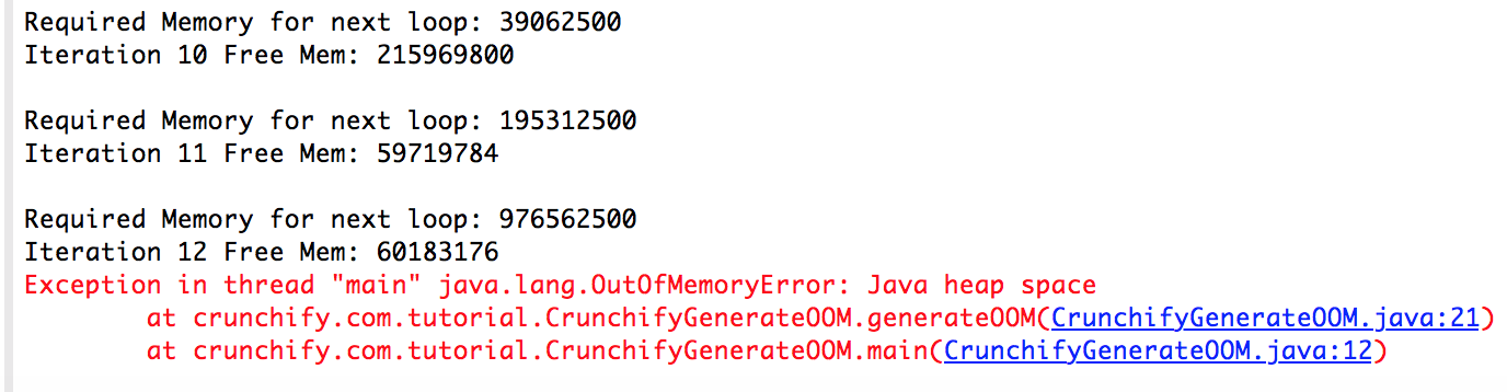 How to Generate Out Of Memory (OOM) in Java Programatically • Crunchify