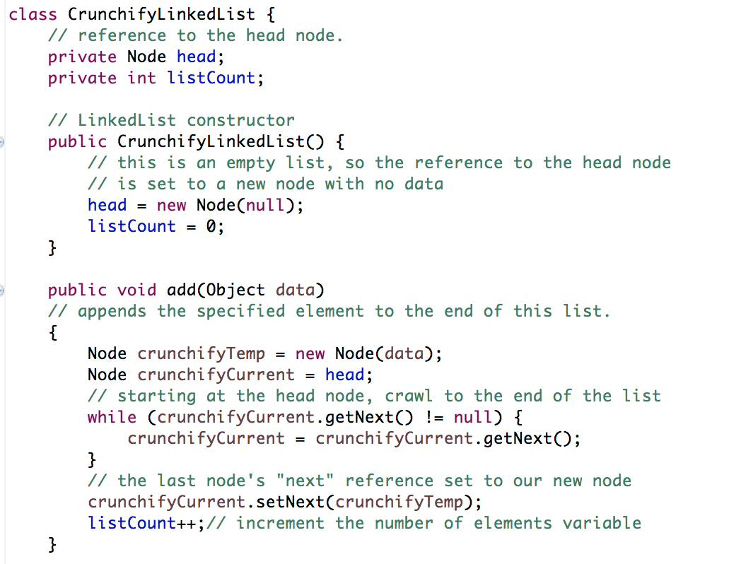 Crunchify Java LinkedList Implementation Tutorial