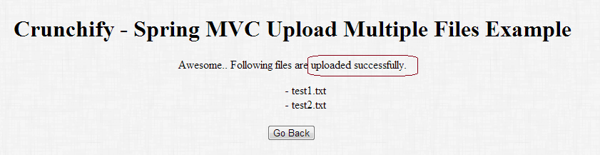 Crunchify Spring MVC - Multiple file upload Example Result