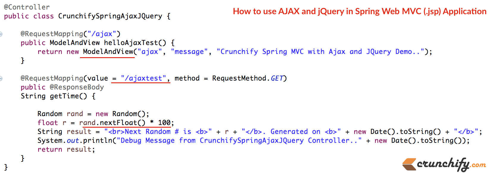 How to use AJAX and jQuery in Spring Web MVC ( jsp) Application
