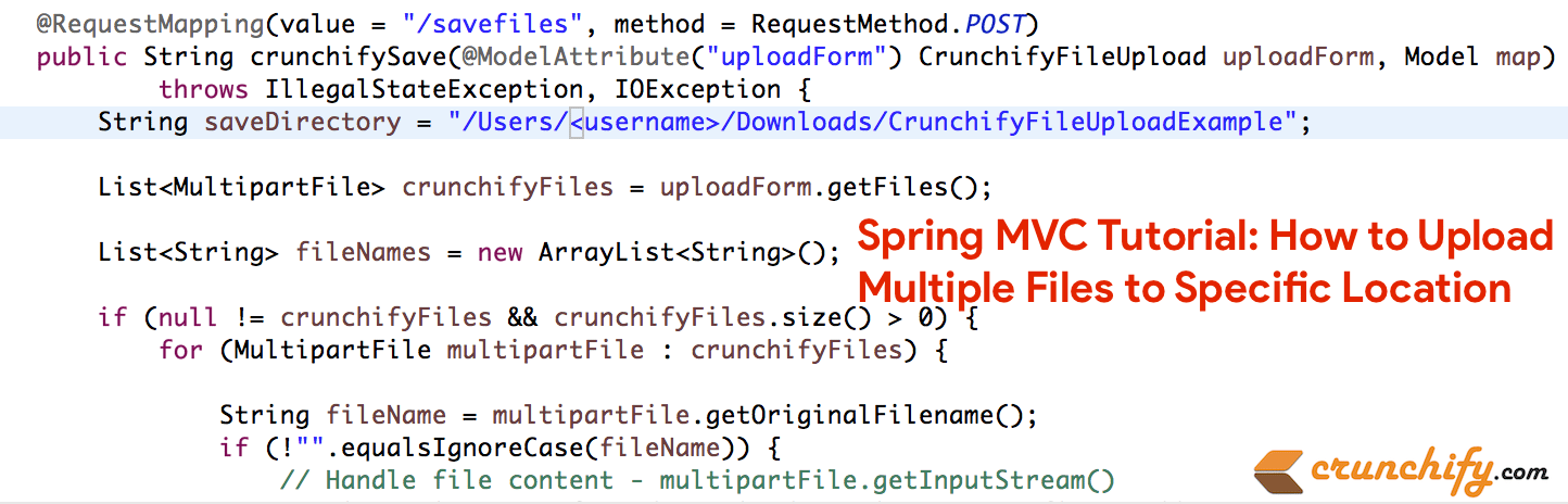 How to Upload Multiple Files to Specific Location using Spring MVC