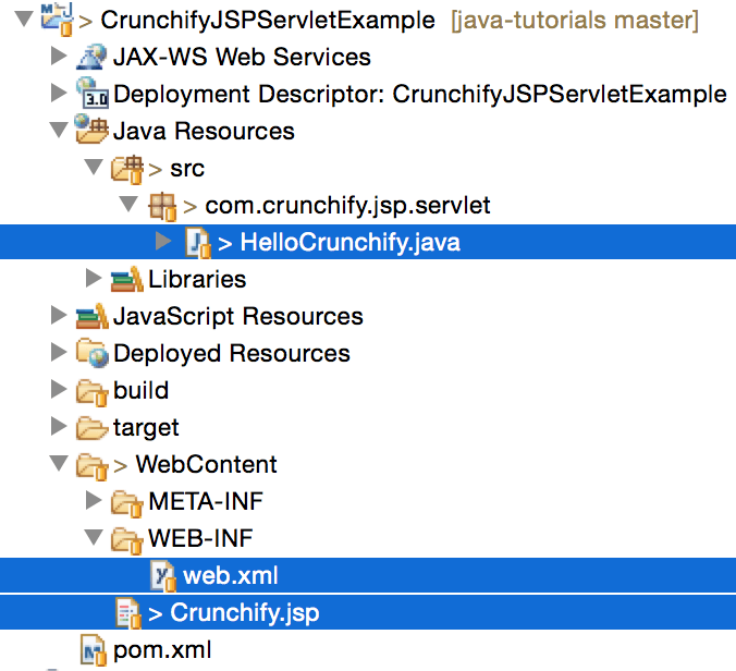 Crunchify JSP Servlet Eclipse Project Structure