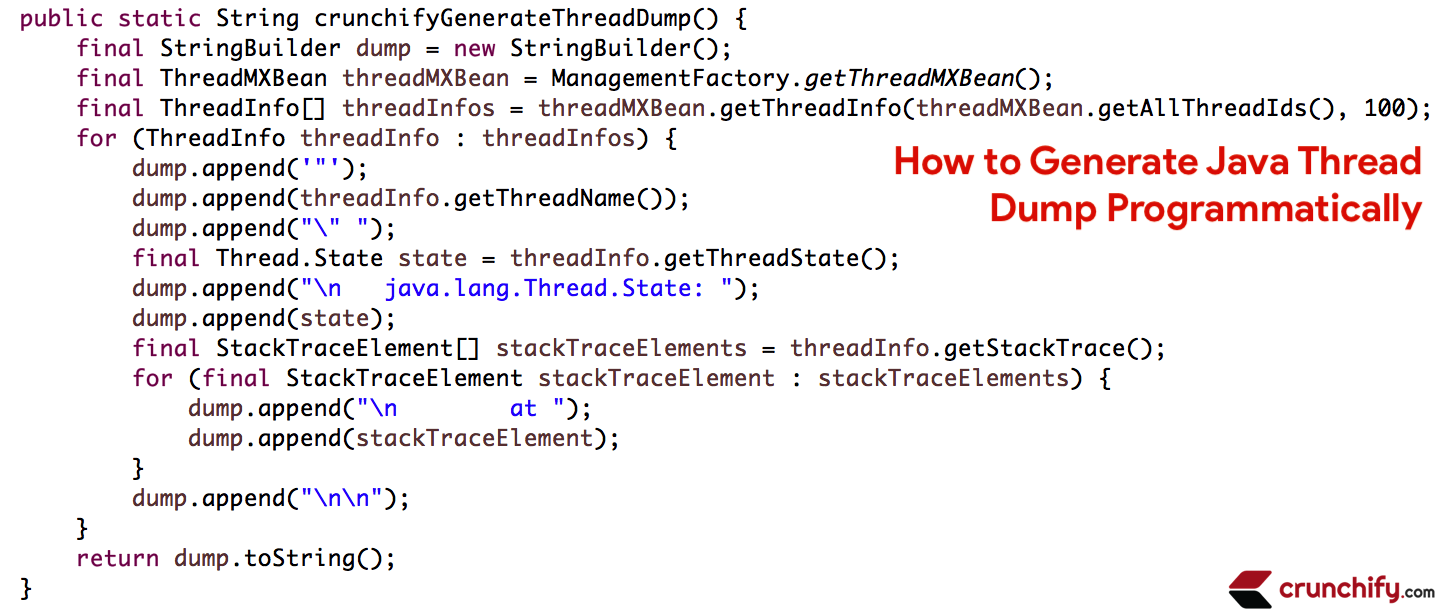Generate Java Thread Dump Programmatically
