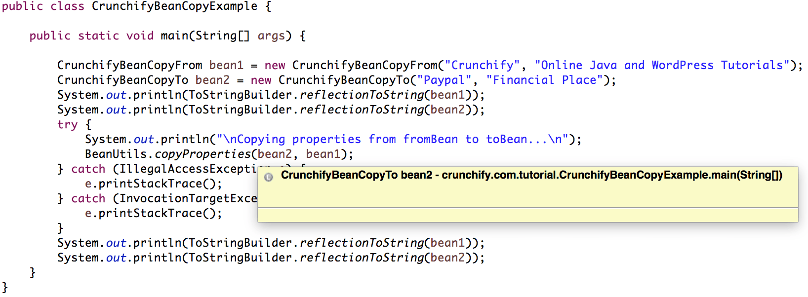 Java how to copy properties from one bean to another crunchify how to copy properties from one bean to another baditri Gallery