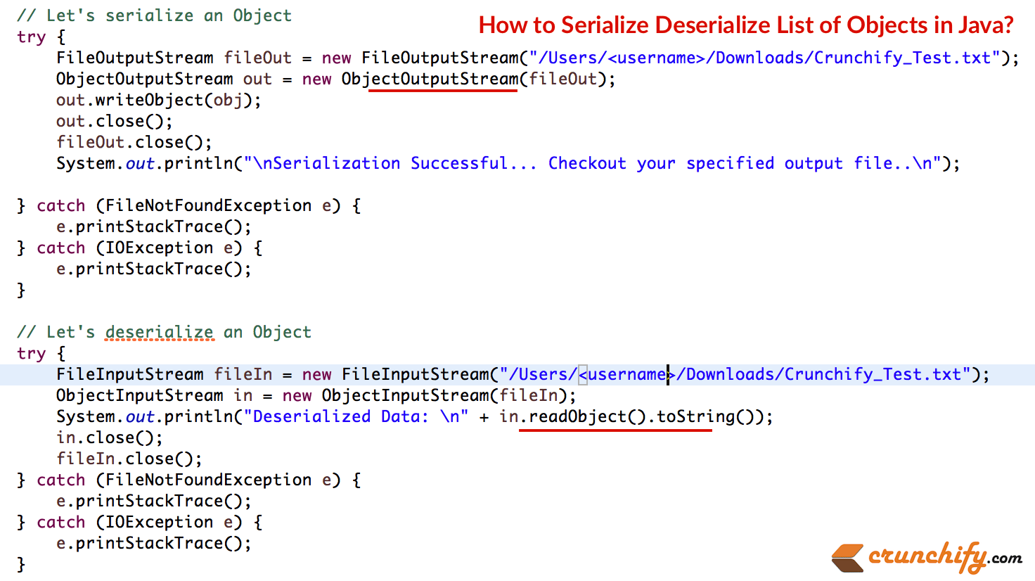 How to serialize deserialize list of objects in java java how to serialize deserialize list of objects in baditri Image collections