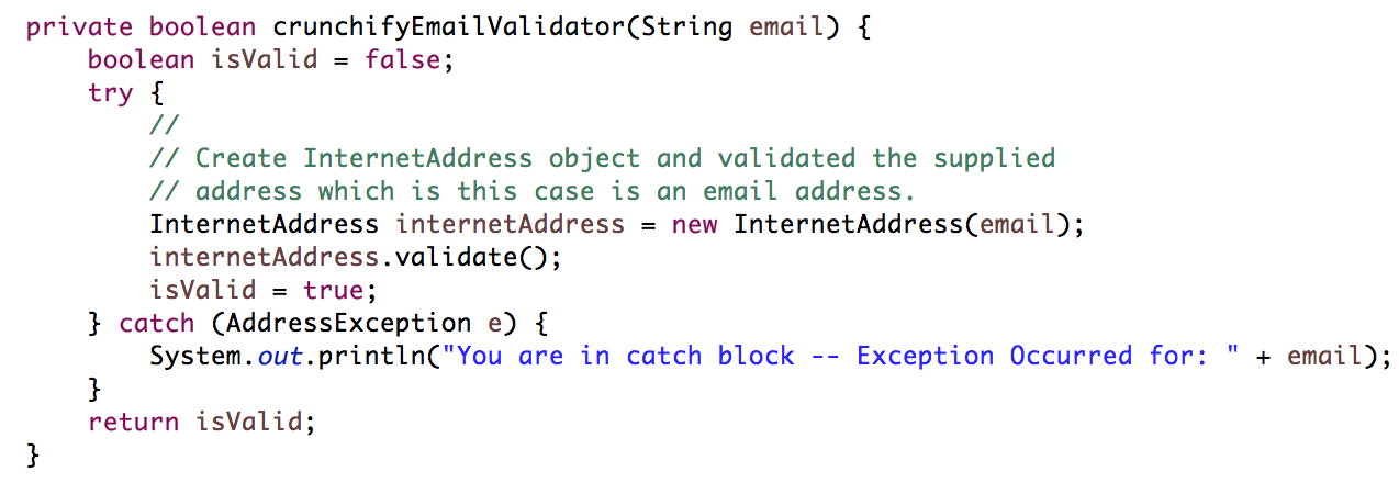 Validate Email Address Using Java Mail API