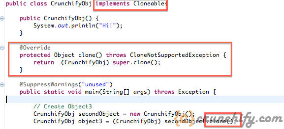 java.lang.CloneNotSupportedException -  Implement Clonable Interface