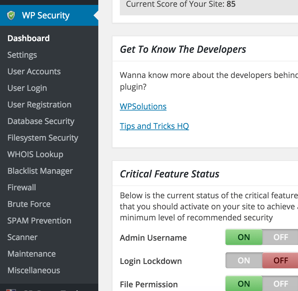All In One WP Security & Firewall Plugin Features and Settings