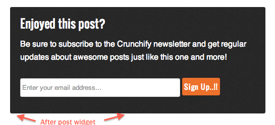 Crunchify After Post Widget - Genesis Hooks