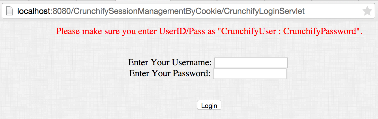 Crunchify Cookies Tutorial - Login Failure